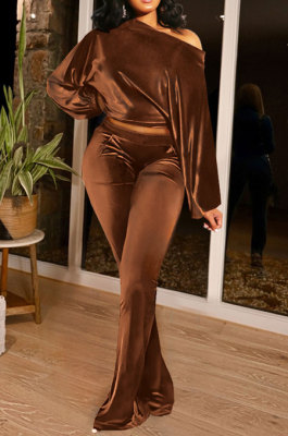 Coffee Women Solid Color Pullover Velvet A Word Shoulder Lantern Sleeve Pocket Flare Leg Pants Sets GL6517-4