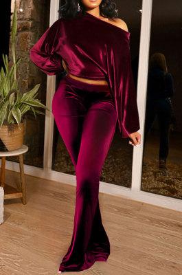 Wine Red Women Solid Color Pullover Velvet A Word Shoulder Lantern Sleeve Pocket Flare Leg Pants Sets GL6517-5