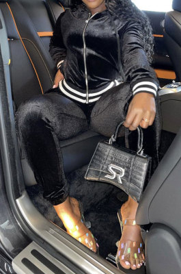 Black Wholesale Women Velvet Webbint Spliced Long Sleeve Hoodie Bodycon Pants Casual Sport Sets LML271-5