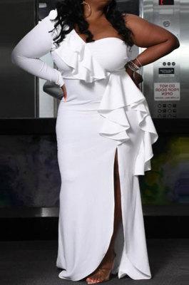 White Fashion Sexy Off Shoulder Split Flounce Mid Waist Plus Long Dress CCY1663
