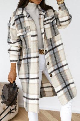 Gray Winter Plaid Print Long Sleeve Lapel Neck Single-Breasted Woolen Cloth Long Coat SZR20247-2