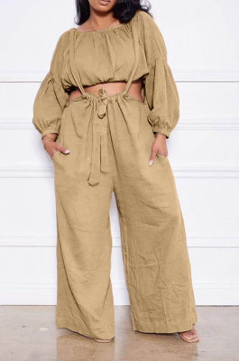 Khaki Women Cotton Blend Ruffle Condole Belt Bandage Pure Color Wide Leg Pants Two-Pieces GL6511-4