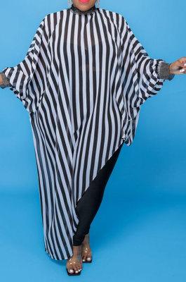 Black White Stripe Women Loose Half Turtle Neck Long Sleeve Irregular Long Plus Size Tops T Shirts CCY1673-5
