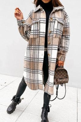 Khaki Wholesale Winter Plaid Print Long Sleeve Lapel Neck Single-Breasted Woolen Cloth Fashion Coat SZR20282 -3