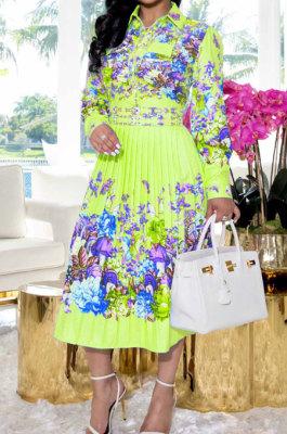 Yellow Fashion Positioning Print Spliced Long Sleeve Lapel Neck Side Stealth Zipper Shirt Swing Dress WY6848-1