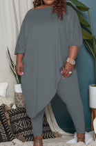 Gray Big Yards Loose Pure Color Inclined Shoulder Spring Autumn Two Piece QSS51023-8