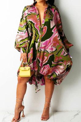 Pink Euramerican Women Irregular Digital Printing V Collar Mid Waist Midi Dress K2201-2