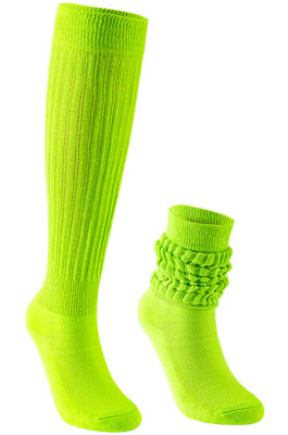 Slouch Socks in Fluroscent Green