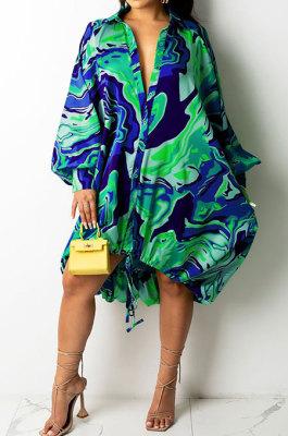 Blue Euramerican Women Irregular Digital Printing V Collar Mid Waist Midi Dress K2201-3