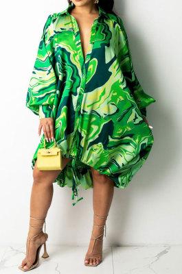 Green Euramerican Women Irregular Digital Printing V Collar Mid Waist Midi Dress K2201-1