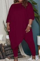 Wine Red Big Yards Loose Pure Color Inclined Shoulder Spring Autumn Two Piece QSS51023-6