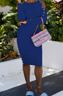 Blue Night Club Off Shoulder Long Sleeve Round Collar Collect Waist Collect Waist Pencil Dress WY6847-4