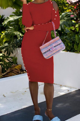 Wine Red Night Club Off Shoulder Long Sleeve Round Collar Collect Waist Collect Waist Pencil Dress WY6847-3