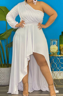 White Sexy Long Sleeve One Shoulder Pure Color Irregular Plus Long Dress CCY1686-1
