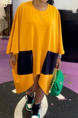 Yellow Women Fashion Simplee Solid Color Loose Round Collar Swing Spliced Mini Dress PU6095-1