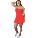 Sexy Backless Solid Bodycon Stralpless Mini Dress SY6235