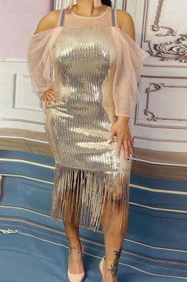 Golden Women Sexy Off Shoulder Round Collar Spliced Tassel Fashion Sequins Plus Mini Dress CCY1680