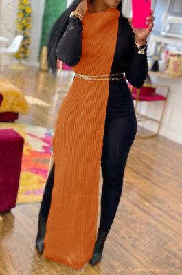 Orange Women High Collar Mid Waist Sleeveless Pure Color Pullover Split Long Dress K066-6