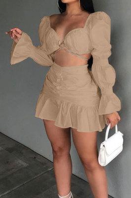 Khaki Sexy Cute Lantern Sleeve Strapless High Waist Ruffle Mini Skirts Solid Color Sets ALS267-1