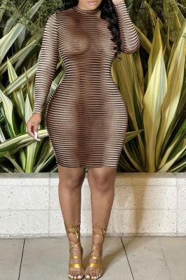 Brown Sexy Euramerican Fashion Printing Round Collar Mid Waist Long Sleeve Mini Dress KA7201-2