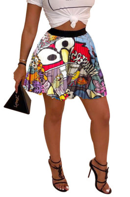 Red Blue Women Fashion Printing Ruffle Skirts BM7145-5