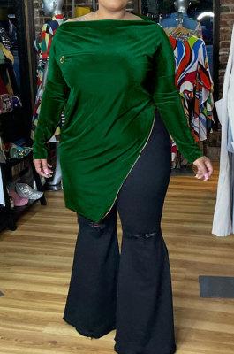 Green Big Yrads Irregularity Velvet Long Sleeve Zipper Fat Women Tops HY007-3