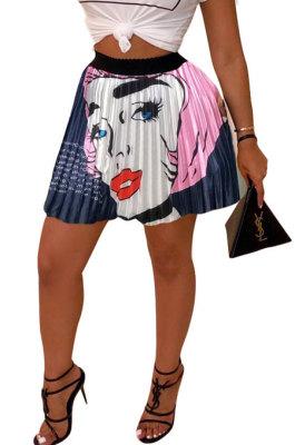 Blue Women Fashion Printing Ruffle Skirts BM7145-2