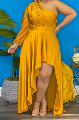 Yellow Sexy Long Sleeve One Shoulder Pure Color Irregular Plus Long Dress CCY1686-2