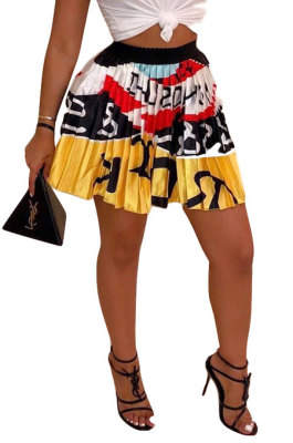 Yellow Women Fashion Printing Ruffle Skirts BM7145-3