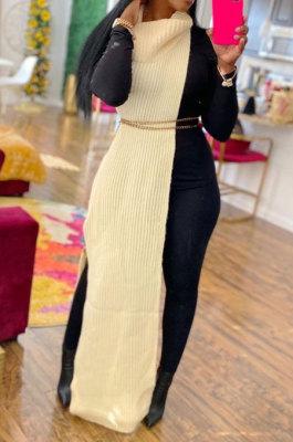 Apricot Women High Collar Mid Waist Sleeveless Pure Color Pullover Split Long Dress K066-4
