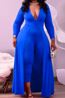 Blue Women Pure Color Casual V Collar Tight Skinny Mid Waist Plus Jumpsuit CCY1689-3
