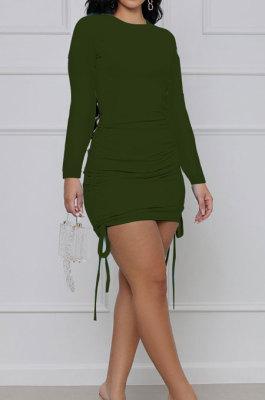 Green Cotton Blend Simple Long Sleeve Drawsting Solid Color Slim Fitting Hip Dress SMR10606-4
