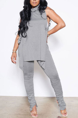 Grey Personality Pure Color Sleeveless High Neck Tops Ruffle Trousers Casual Sets YYF8247-5