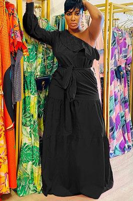 Black Flounce Bandage Zipper Oblique Shoulder Irregular Long Dress GL6516-2