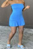 Blue Sexy Backless Solid Bodycon Stralpless Mini Dress SY6235-6