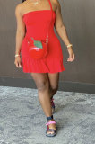 Red Sexy Backless Solid Bodycon Stralpless Mini Dress SY6235-3