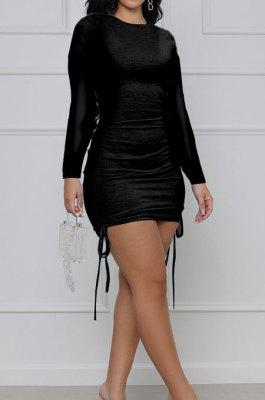 Black Cotton Blend Simple Long Sleeve Drawsting Solid Color Slim Fitting Hip Dress SMR10606-1