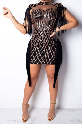 Black Women Fashion Sexy Sequins Tassel Mesh Spaghetti Mini Dress CCY8033-3