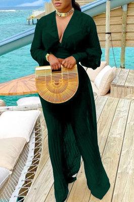 Drak Green Newest Chiffon Long Sleeve Deep V Collar Crop Blouse High Waist Wide Leg Pants Two-Piece SZS8185-3