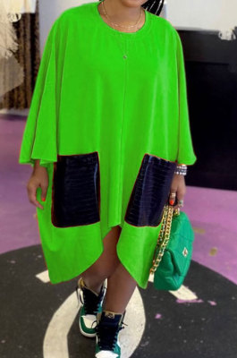 Green Women Fashion Simplee Solid Color Loose Round Collar Swing Spliced Mini Dress PU6095-3