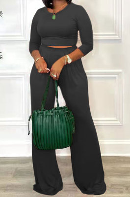 Black Fashion Casual Long Sleeve Round Neck T-Shirts High Waist Wide Leg Pants Solid Color Sets TRS1179-5