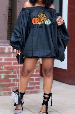 Black Wholesale Halloween Pattern Print Lantern Sleeve A Wrod Shoulder Loose Mini Dress H1727-4