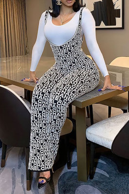 Casual Letter Printing Long Sleeve Round Neck T-Shirts Suspender Trousers Sets BM7223
