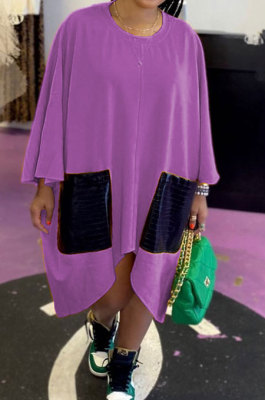 Purple Women Fashion Simplee Solid Color Loose Round Collar Swing Spliced Mini Dress PU6095-5