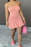Pink Sexy Backless Solid Bodycon Stralpless Mini Dress SY6235-2