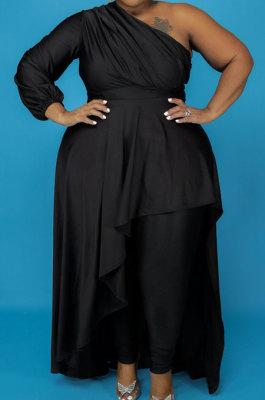 Black Cotton Blend Big Yards One Sleeve Oblique Shoulder Irregularity Tops Pencil Pants Far Women Sets X9328-2