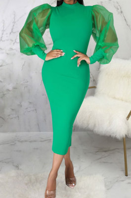 Green Wholesale New Mesh Spliced Puff Sleeve O Neck Collect Waist For Party Pencil Dress SMR10564-1