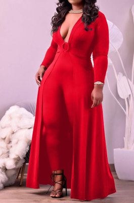 Red Big Yards Cotton Blend Long Sleeve Irregularity Dress+Bodycon Jumpsuits Slim Fitting Sets HT6077-2