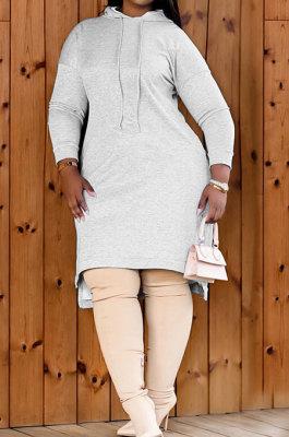 Gray Autumn Winter Lady Loose Long Sleeve Solid Color Round Collar Irregular Mini Dress KZ2140-2