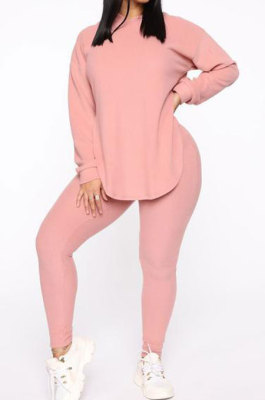 Pink Cotton Blend Casual Long Sleeve Slit Hoodie Pencil Pants Slim Fitting Sets HH8942-2